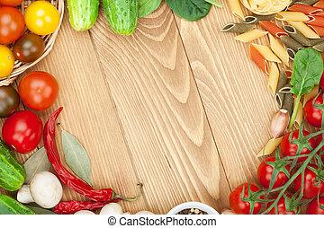 αλάτι , cooking:, μανιτάρι , διάστημα , ξύλινος , πάνω , συστατικό , αγγούρι , φόντο , φρέσκος , τομάτα , αντίγραφο , τραπέζι , ζυμαρικά