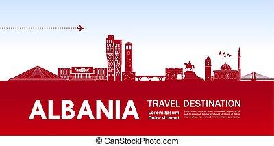 αλβανία , illustration., διανύω προορισμός , μικροβιοφορέας...