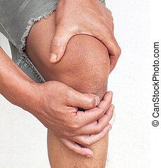 αλγεινός αγγίζω με το γόνατο