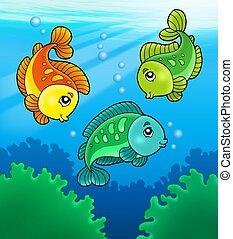 αλιευτικός , χαριτωμένος , γλυκού νερού , τρία