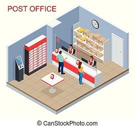 αλληλογραφία , isometric , γυναίκα , δέμα , γραφείο , ακολουθία. , concept., νέος , εικόνα , απομονωμένος , αναμονή , μικροβιοφορέας , αλληλογραφία πρός διεκπεραίωση ανήρ