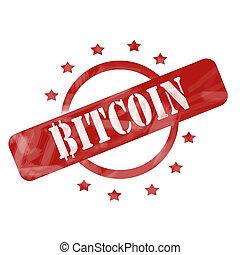 αλλοιώνω με έκθεση στον αέρα , γραμματόσημο , bitcoin, σχεδιάζω , αστέρας του κινηματογράφου , κύκλοs , κόκκινο