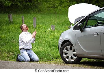 αλλόκοτος άμαξα αυτοκίνητο , οδηγός , σπασμένος , εκλιπαρώ , δρόμοs