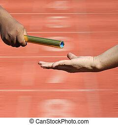 αμαυρώ , ίχνη, startin, αγώνας , στάλσιμο , δράση , ανάμιξη , relay-athletes