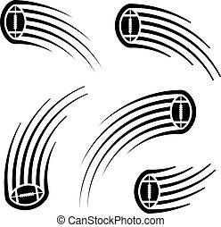 αμερικάνικος μπάλα ποδοσφαίρου μπάλα , κίνηση , γραμμή , σύμβολο