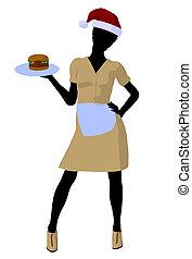 αμερικανός , περίγραμμα , σερβιτόρα , εικόνα , αφρικανός