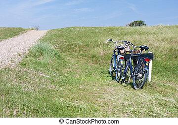 αμμόλοφοι , bicycles, δυο , netherlands., παρκαρισμένες
