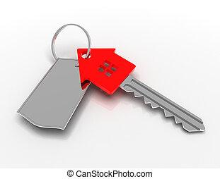 αμολλάω κάβο , house-shape, concept., εικόνα , κλειδί , 3d