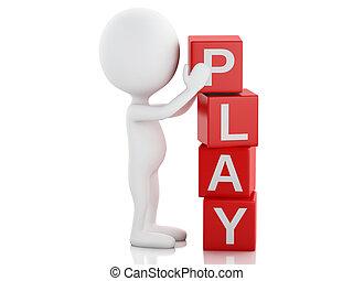 ανάγω αριθμό στον κύβο , λέξη , άνθρωποι , play., άσπρο , 3d