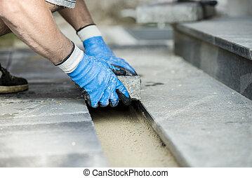 ανάδοχος έργου , με γραμμές , καινούργιος , λιθόστρωση , τούβλα , ή , βγάζω τα κουκούτσια