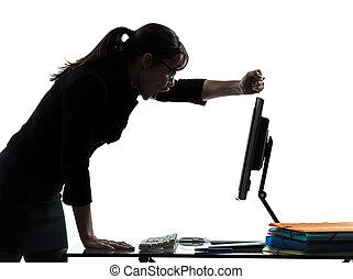 ανάλυση , γυναίκα , περίγραμμα , επιχείρηση , αποτυχία , ηλεκτρονικός υπολογιστής