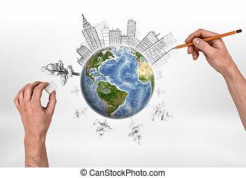 ανάμιξη , από , άντραs , ζωγραφική , κτίρια , και , αποξέω , δέντρα , επάνω , ο , globe.
