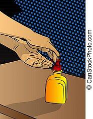 ανάμιξη , gel., καθάρισμα , άντραs , δικός του , sanitizer