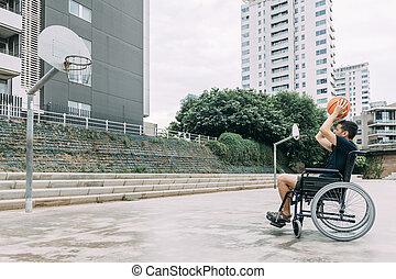 ανάπηρα , wheelchair basketball , παίξιμο , άντραs