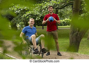 ανάπηρος , αγώνισμα , παίξιμο , φίλοs , άντραs