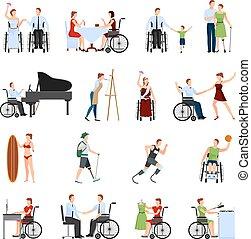 ανάπηρος , διαμέρισμα , θέτω , άνθρωποι , απεικόνιση