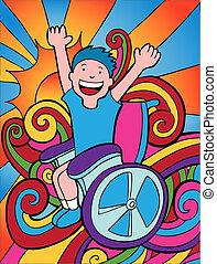 ανάπηρος , ευτυχισμένος , παιδί