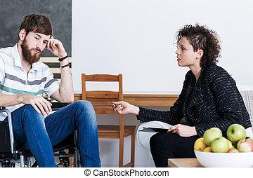 ανάπηρος , ψυχίατρος , νέοs άντραs