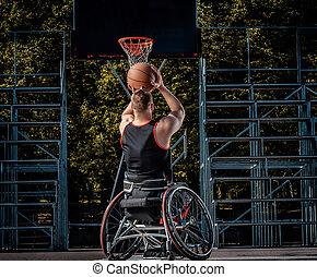 ανάπηρος , basketball ηθοποιός , μέσα , ένα , αναπηρική καρέκλα , αναξιόλογος , επάνω , ανοίγω , αγώνας , ground.
