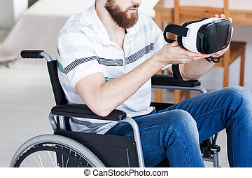ανάπηρος , vr , μεγάλα ματογυαλιά , άντραs