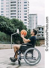 ανάπηρος , wheelchair basketball , παίξιμο , άντραs