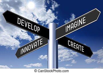 ανάπτυξη , βέλος , γενική ιδέα , οδοδείκτης , - , τέσσερα