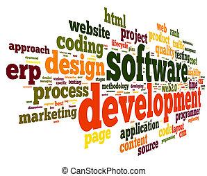 ανάπτυξη , γενική ιδέα , ετικέτα , σύνεφο , λογισμικό