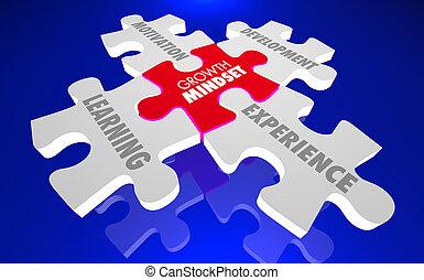 ανάπτυξη , εμπειρία , ανάπτυξη , γρίφος , mindset , γνώση , εικόνα , κίνητρο , 3d