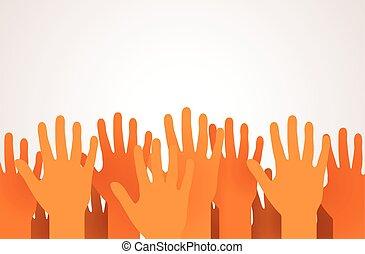 ανέθρεψα , concept., πάνω , φιλανθρωπία , ψηφοφορία , ή , hands., αυτοφυής