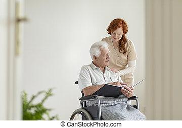 ανέχομαι , ακινητοποιώ , αναπηρική καρέκλα , ηλικιωμένος , caregiver , photobook, άντραs