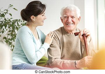 ανέχομαι , περίπατος , γυναίκα , βέργα , ευθυμία ανήρ , αρχαιότερος , ευτυχισμένος