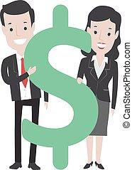 ανήρ γυναίκα , δολάριο , αρμοδιότητα αναχωρώ