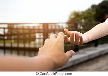 ανήρ και γυναίκα , χέρι , αγγίζω , να , ο ένας τον άλλο