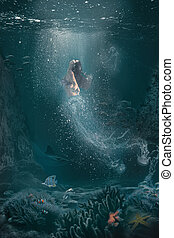 αναγκάζω να κολυμπήσει , υποβρύχιος , επιφάνεια , γυναίκα , τσούχτρα , μισό , σκηνή , φαντασία
