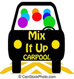 ανακατεύω , carpool , αυτό , πάνω