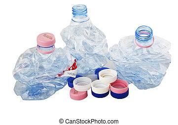 ανακυκλώνω , άσπρο , μπουκάλι , πλαστικός