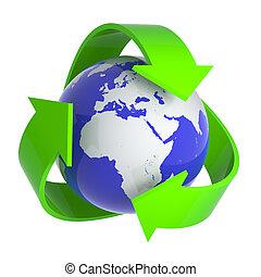 ανακυκλώνω , γη , σύμβολο , 3d