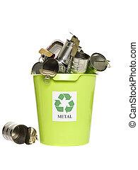 ανακυκλώνω δοχείο , με , μέταλλο , προϊόντα