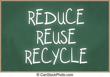 ανακυκλώνω , εδάφιο , reuse , chalkboard , περιορίζω