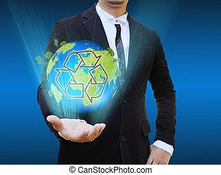 ανακυκλώνω , επιχειρηματίας , κράτημα , κόσμοs