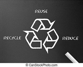 ανακυκλώνω , περιορίζω , - , chalkboard , reuse