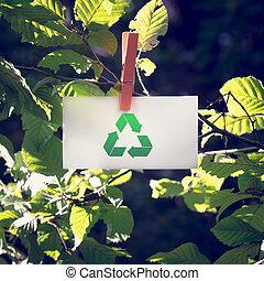 ανακυκλώνω , σήμα , επάνω , μικρό , άσπρο , χαρτί , σε , κήπος