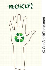 ανακυκλώνω , σήμα , χέρι