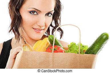 ανακύκλωσα , λαχανικά , γυναίκα , τσάντα
