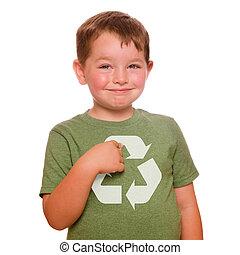 ανακύκλωση , για , άρθρο εμπορεύματα επί προθεσμία , γενική ιδέα , με , χαμογελαστά , παιδί , με καμάρι , άγκιστρο στερέωσης ρούχων εις , ανακύκλωση , ο ενσαρκώμενος λόγος του θεού , επάνω , δικός του , πράσινο , φανελάκι