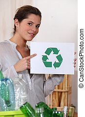 ανακύκλωση , γυαλί , γυναίκα , δέμα , πλαστικός