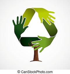 ανακύκλωση , πράσινο , γενική ιδέα , δέντρο , ομαδική εργασία