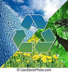 ανακύκλωση , σήμα , με , άγαλμα , από , φύση , - , eco, γενική ιδέα