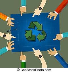ανακύκλωση , σχέδιο , στρατηγική , επάνω , environmentally εξυπηρετικός , δραμάτιο , επάνω , αρχιτεκτονικό σχέδιο, paper., άνθρωποι , κουβεντιάζω , μαζί , ανάμιξη άγκιστρο στερέωσης ρούχων , επειδή , ένα , ζεύγος ζώων