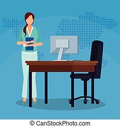 αναλόγιο έδρα , γραφείο , ντοσσιέ , επιτυχία , ηλεκτρονικός υπολογιστής , επιχείρηση , επιχειρηματίαs γυναίκα